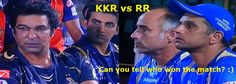 #RR defeated #KKR riders to qualify for the knockout stages of IPL - Indian Premier League yesterday evening. However the tension in the RR camp was so high that Rahul Dravid just could not smile. As it is he is such a cool and collected person but c'mon Rahul the victory does  deserve a big smile! Wasim Akram and Gautam Gambhir look visibly disappointed naturally! They can still hope to qualify based on results from today's games especially the #SRH and #MI game in Hyderabad.