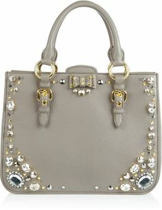 Crystal Embellished Studded Leather Tote Miu Miu Handbags ff79199fe4464