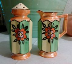 Art Deco Luster ware Octagonal Muffineer Sugar Shaker and Creamer #Unknown