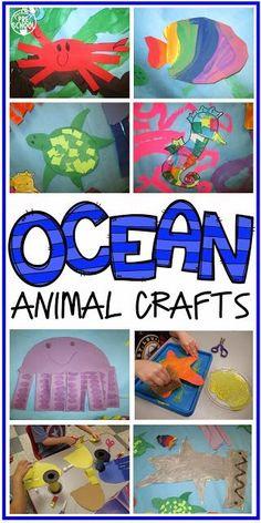 Ocean Animal Crafts and Ocean Mural fun for preschool or pre-k