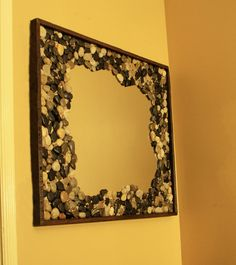Love the idea for 1/2 bath but not liking the price...Rock Framed Mirror Lazy River Java Finish by natureinspiredcrafts, $400.00