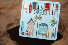 Blank Mini Card Set of 10 Beach Hut Design on Sea by mad4plaid, $5.00