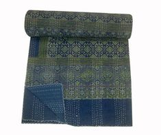 Indian Vintage Kantha Quilt Handmade Ajrakh hand block print 100% Cotton Bed cover Bedspread Blanket bed sheet Throw Queen size 90x108 inch