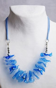 Blue plastic necklace upcycled