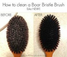 How to clean a boar bristle hair brush... like new! -- Tags: Natural Hair Care, boar bristle brushing, how to clean a boar bristle brush, before and after, water only hair, primal, natural, no poo, no-poo, shampoo-free, Just Primal Things Blog