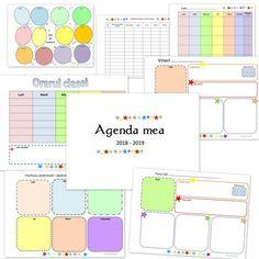 Agenda invatatorului - pagini de printat alb-negru sau color Back To School, Diy And Crafts, Bullet Journal, Organization, Map, Day Planners, Reading, School, Getting Organized