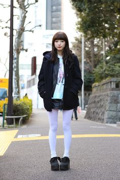 Saccho in Harajuku wearing BELLY BUTTON and TOKYO BOPPER  | Fashionsnap.com