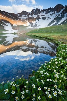 Love the diverging & curving lines! Photo of upper Blue Lake in Mt. Sneffels Wilderness, CO by Grant Ordelheide Mountain Photography, Landscape Photography, Nature Photography, Colorado Mountains, Rocky Mountains, Colorado Usa, Colorado Wildflowers, Adventure Is Out There, Amazing Nature