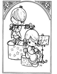 LETS MAKE MUSIC! - Precious Moments coloring pages.