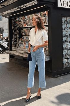 Simple and chic Parisian style, , My Faforite - My Style, Mode Outfits, Casual Outfits, Casual Jeans, Plad Outfits, Casual Attire, Office Outfits, Sweater Outfits, Casual Dresses, Inspiration Mode