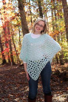 Harris Sisters GirlTalk: Open Weave Poncho Free Crochet Pattern