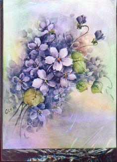 Vintage Floral Art Print Beauiful Purple Flowers by superimposium