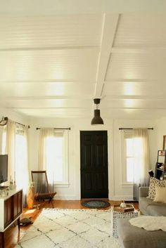 Beadboard ceiling & tv stand