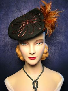 , NY Katz Exclusive Millinery, Chicago, IL All hats are from my personal . Vintage Outfits, Vintage Fashion, Vintage Hats, 1940s Fashion, Vintage Wear, Vintage Ladies, 1930s Hats, Hat Stands, Fancy Hats