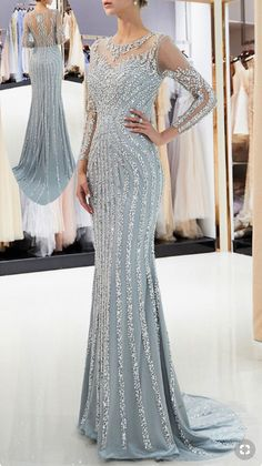 Shining Tulle Jewel Neckline Mermaid Formal Dress With Beadings - Herren- und Damenmode - Kleidung Mermaid Evening Dresses, Evening Gowns, Prom Dress, Best Party Dresses, Dress Party, Mother Of Groom Dresses, Bride Gowns, Beautiful Gowns, Formal Dresses