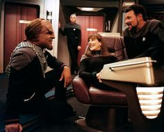 Worf, Picard, Troi, and Riker