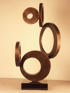 Abstract Iron Sculpture, Modern Metal Sculpture in Copper Shades (IA-GT10261)