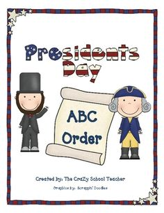 FREE President's Day ABC order (but for the littler ones, the word cards also make great word wall words)