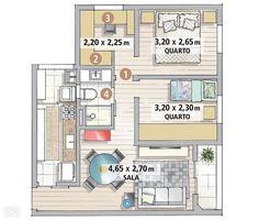 Apê de 62 m² é repleto de ideias para aproveitar espaço - Casa - O quarto menor conectou-se ao maior – bastou eliminar duas portas e instalar outra no fim do corredor (1). O ambiente principal acolheu a cama king size (1,93 x 2,03 m) e dois criados-mudos. Guarda-roupa (2), bancada de trabalho (3) e estante integrada ocuparam o anexo. A área do banheiro rendeu mais com a troca da porta comum por uma de correr (4).