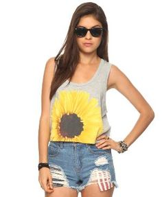 Love this sunflower cutoff shirt --- pair it with a skirt and it'd be perfect! :: Sunflowers:: Fashion