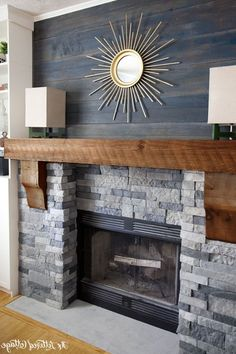 Furniture Stunning Stone Fireplaces With Wood Mantels Under Decorative Oval Wall Mirror In Wood Wall Inspiring Stone Fireplaces Models