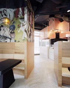 restaurant ceiling Thomas Krger Architekt suspends copper cuboids from Berlin restaurant ceiling Restaurant Berlin, Restaurant Design, Restaurant Interiors, Corporate Design, Retail Design, Bar Interior, Interior Design, Work Cafe, Italian Bistro