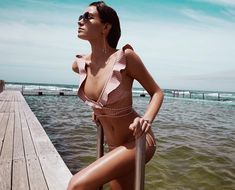 Caravan Stripe Wrap Bikini, from our Resort Swim 17 collection, in Pink and Silver stripe. Wrap around bikini with bonded frills throughout neckline and shoulders. Adjustable lower back straps. Tie side pant in matching print. Wrap Around Bikini, Bikinis, Swimsuits, Summer Vibe, Swimsuit Edition, Ruffle Swimsuit, Surf Girls, Fashion Poses, One Piece Swimwear