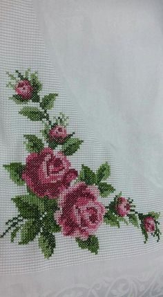 This Pin was discovered by Ays Cross Stitch Rose, Cross Stitch Borders, Cross Stitch Flowers, Cross Stitch Charts, Cross Stitching, Cross Stitch Patterns, Rose Embroidery, Cross Stitch Embroidery, Embroidery Patterns