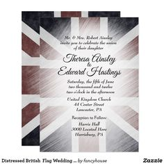 Distressed British  Flag Wedding Invitations #halfprice