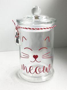 Cat Crafts, Animal Crafts, Vinyl Crafts, Mason Jar Crafts, Mason Jars, Kilner Jars, Glass Bell Jar, Dog Treat Jar, Pots