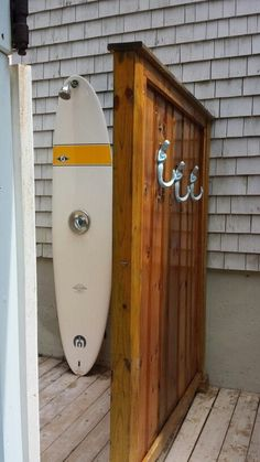 Surfboard shower with mermaid towel hooks Outdoor Spaces, Outdoor Living, Outdoor Decor, Outside Showers, Outdoor Showers, Casa San Sebastian, Garden Shower, Outdoor Bathrooms, Beach Bungalows
