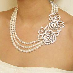 Pearl Wedding Necklace, Vintage Style Rose Wedding Jewelry, Victorian Style Rhinestone Rose Necklace, ROSALINE