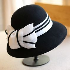 Vintage bow wool bucket hat for women striped felt winter hats. SombrerosRopa  ... 3a79368d57e