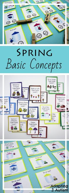 These task cards are perfect to practice basic concepts in special education classrooms or speech therapy. These spring, weather and bug themed activities are also great independent work tasks in autism classrooms!