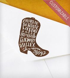 Custom Rubber Address Stamp with Hand-Drawn Cowboy Boot! LOVE THIS!!!