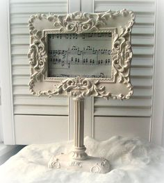 White Picture Frame Pedestal Frame Shabby Chic Home Decor French Country  ECS