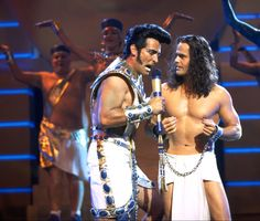 Robert Torti (Pharaoh) and Donny Osmond (Joseph) in Joseph and the Amazing Technicolor Dreamcoat (movie version).