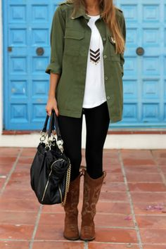 olive utility jacket / white top / black skinnies / brown boots