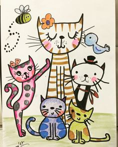 Dot Painting, Fabric Painting, Drawing For Kids, Art For Kids, Cat Template, Cat Attack, Sharpie Art, Cat Quilt, Happy Paintings