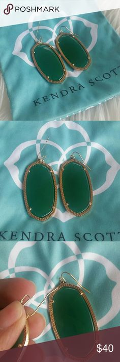 Kendra Scott danielle earrings Kendra Scott green danielle earrings. One earring hook is slightly crooked. But that doesn't take away from these gorgeous Kendras. Kendra Scott Jewelry Earrings