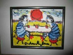 ≥ Ranja Drinken op het strand___Anton Heyboer__Ingelijst +++ - Kunst | Schilderijen | Modern - Marktplaats.nl
