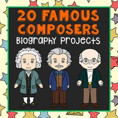 20 Famous Music Composers Brochure Projects. This bundle of two-sided tri-fold biography brochure templates allows students to dig deeper into facts about an assortment of famous classical composers. Composers included: Pyotr Ilyich Tchaikovsky, Richard Wagner, George Frederic Handel, Leroy Anderson, Franz Liszt, Wolfgang Mozart, Sergei Prokofiev, Johann Sebastian Bach, Beethoven, Leonard Bernstein, Johannes Brahms, Benjamin Britten, Frederic Chopin, Aaron Copland, George Gershwin