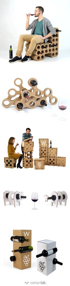 The coolest wine rack with creative design for all kinds of wines! Cardboard wine rack perfect for organic wines designed by Cartonlab. #winerack #winelovers #winery