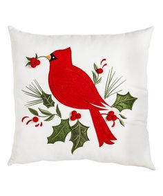 Another great find on #zulily! White & Red Holiday Cardinal Indoor/Outdoor Throw Pillow #zulilyfinds