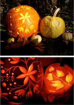 gorgeous pumpkin carving ideas oh, this is a really cute idea. Something different than just the normal pumpkin face. Halloween Party Decor, Holidays Halloween, Easy Halloween, Halloween Pumpkins, Halloween Crafts, Pretty Halloween, Cute Pumpkin Carving, Pumpkin Carving Patterns, Pumpkin Art
