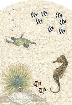 Beach Tile Art... for Bath, Kitchen & Beyond. Featured on Beach Bliss Living: http://beachblissliving.com/tile-art/