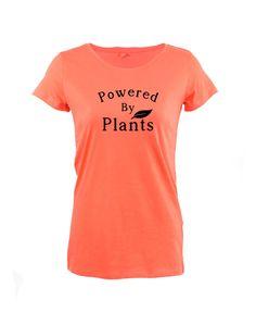 £11.99 Powered By Plants Womens TShirt Vegetarian Plant Cute Animal Friend Vegan Quotes #Get2wear #Graphic