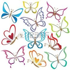 tattoo designs: Set abstract butterflies, coloured contour silhouettes on white background