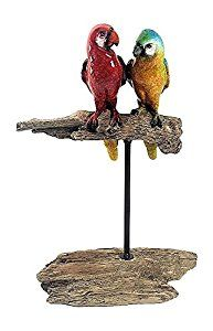 "Amazon.com : Pair of Parrots on Wood Perch, Pirates - Tiki Bar - Tropical Decor -11.5"" Tall : Pet Supplies"
