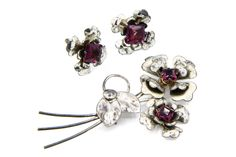 Floral Jewelry Set, Sterling Silver And Rhinestones, Brooch Pin, Screw Back Earrings, Antique 1940s Jewelry, Sparkling Purple Stones Jewelry, Dimensional Jewelry, Double Flowers Brooch, Flower Rhinestone Earrings, Marked Sterling Jewelry, Delicate Romantic Jewelry Set, Purple